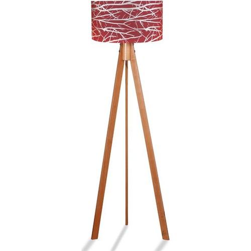 Binbirmarka Kumaş Başlıklı 3 Ayaklı Tripod Lambader - Desenli Kırmızı / Naturel