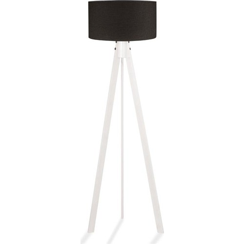 Binbirmarka Kumaş Başlıklı 3 Ayaklı Tripod Lambader - Siyah / Beyaz