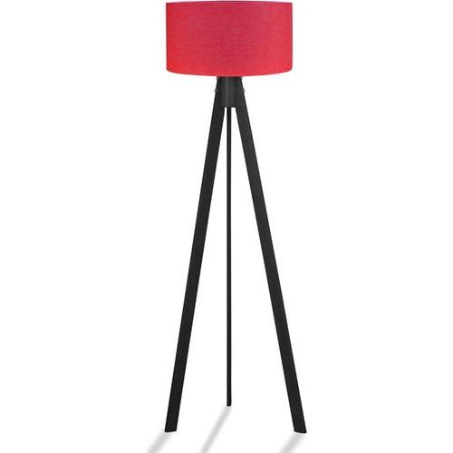 Binbirmarka Kumaş Başlıklı 3 Ayaklı Tripod Lambader - Kırmızı / Siyah