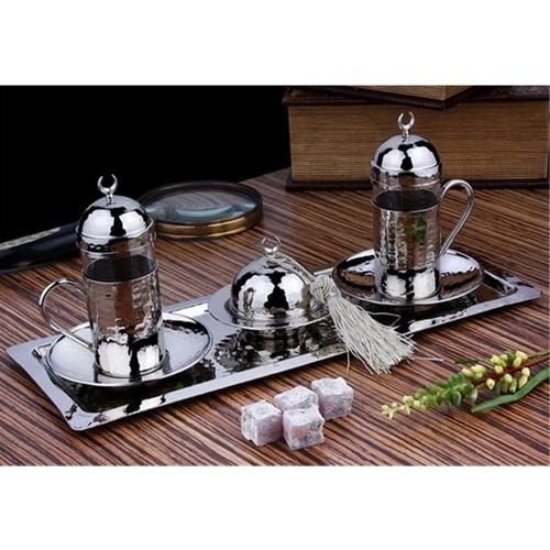 Kahveseti Dövme Bakır Çay & Şerbet Takımı 2 Kişilik - Gümüş