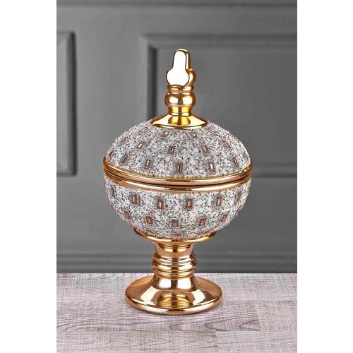 iHouse Ch02 Dekoratif Kapaklı Sekerlik-Gold
