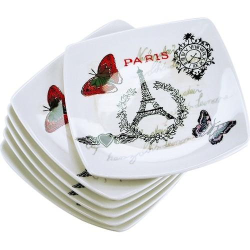 iHouse Prt-1018 Pasta Tabağı 6 Lı Set Krem