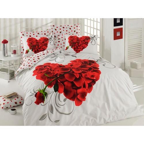 Örtüm Valentine Ranforce Uyku Seti Çift Kişilik Beyaz