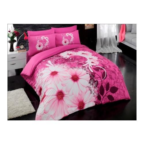 Örtüm Daisy Ranforce Uyku Seti Çift Kişilik Fusya