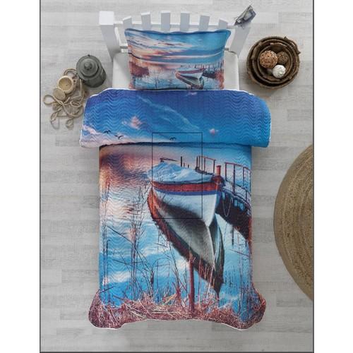 Örtüm Sandal Yatak Örtüsü Tek Kişilik Mavi