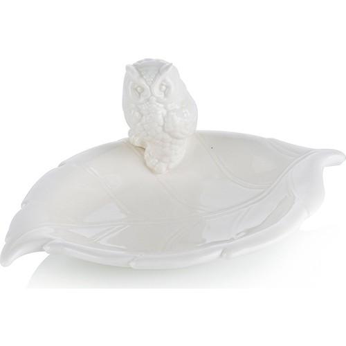 Porio M66-193 - Beyaz Yaprak Şeklinde Baykuşlu Çerezlik 22 Cm