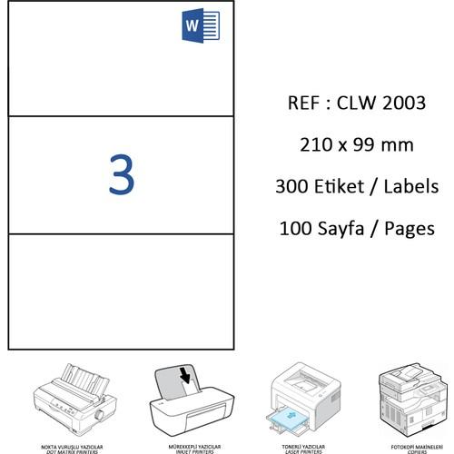 Crea Label Clw-2003 210 X 99 Mm Lazer Etiket