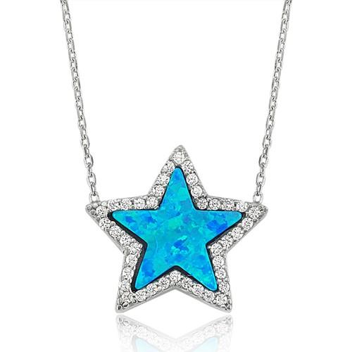 VAOOV 925 Ayar Gümüş Opal Taşlı Yıldız Kolye