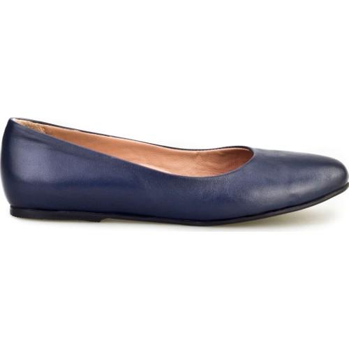 Cabani Babet Günlük Kadın Ayakkabı Lacivert Analin Deri