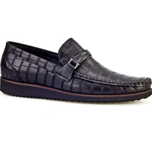 Cabani Light Taban Günlük Erkek Ayakkabı Siyah Croco Deri