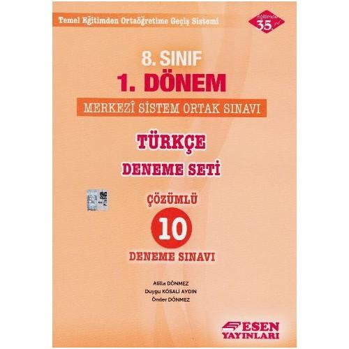 Esen Yayınları 8. Sınıf 1. Dönem Türkçe Deneme Seti Çözümlü 10 Deneme Sınavı