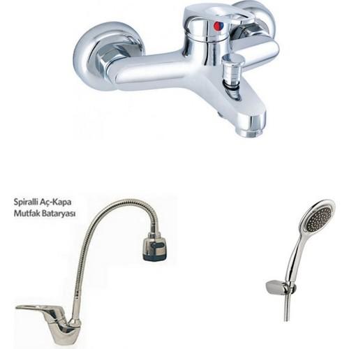 Erce Mix Spiralli Evye Ve Banyo Bataryası + Duş Takımı