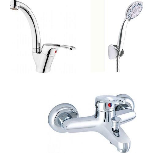 Erce Mix Kuğu Lavabo Ve Banyo Bataryası + Duş Takımı