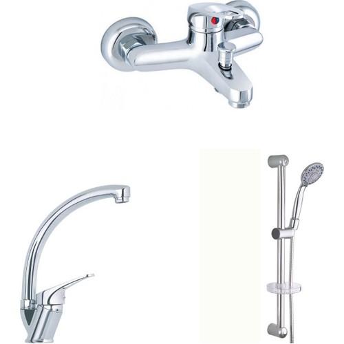 Erce Mix Kuğu Evye Ve Banyo Bataryası + Sürgülü Duş Takımı