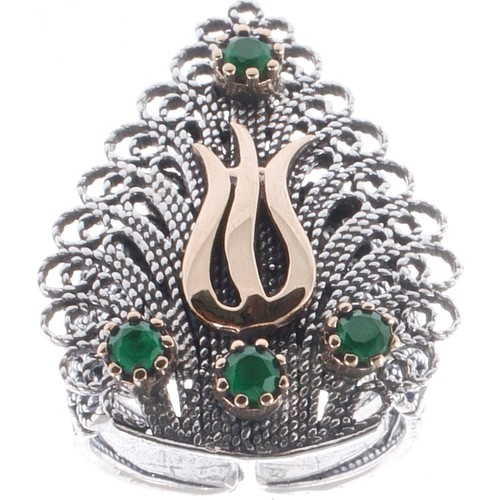 Akyüz Gümüş Zümrüt Taşlı Lale Motifli Telkari Gümüş Yüzük