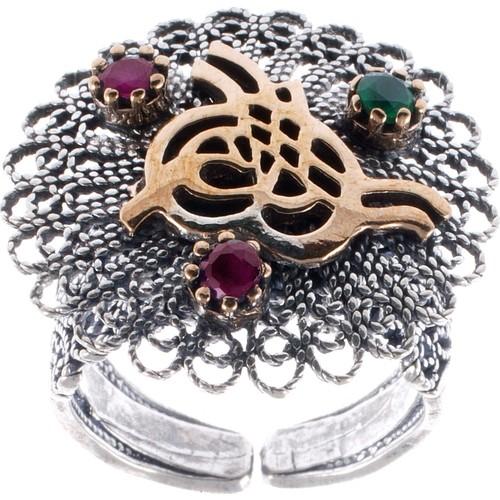 Akyüz Gümüş Zümrüt Ve Yakut Taşlı Osmanlı Tuğralı Telkari Gümüş Yüzük