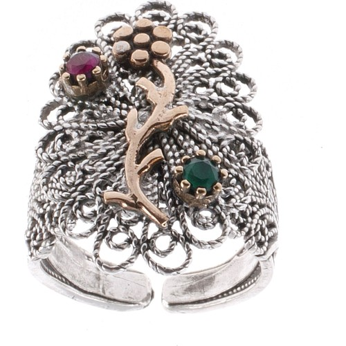 Akyüz Gümüş Zümrüt Ve Yakut Taşlı Çiçek İşlemeli Telkari Gümüş Yüzük