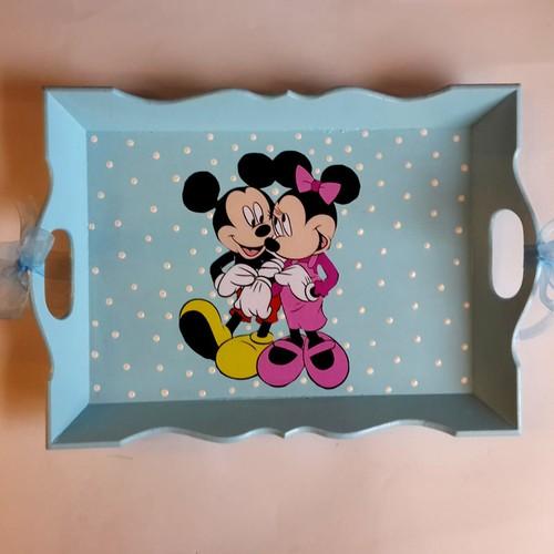 Artez Tasarım El Boyaması Ahşap Tepsi Miki Mouse