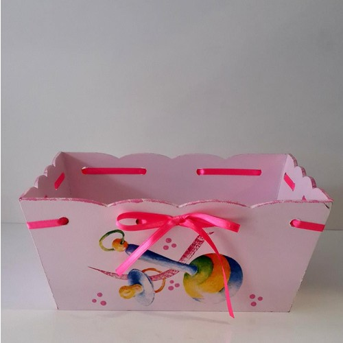 Artez Tasarım İsme Özel Ahşap El Boyaması Pembe Bebek Şekeri Sepeti
