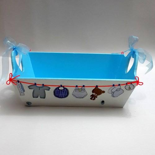 Artez Tasarım İsme Özel Bebek Şekeri Sepeti Mavi Askılı Modeli