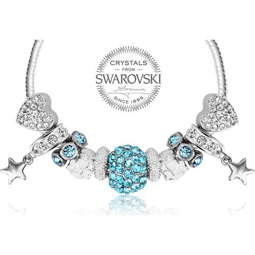 Monemel Cam Göbeği Swarovski® Taşlı Charm Bileklik