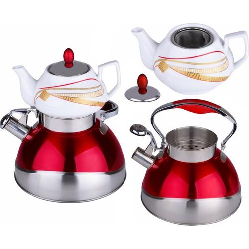 iHouse 7252-Çaydanlık Seti Çaydanlık 3Lt,Demlik 0,75Lt-Kırmızı