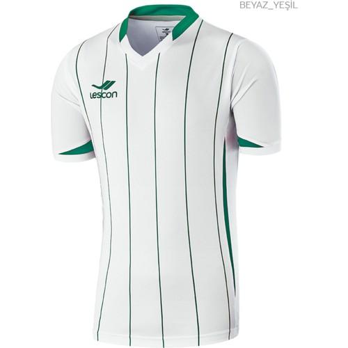 Lescon 14T-4030 Beyaz Yeşil Erkek Çizgili Futbol Forma Tek Üst