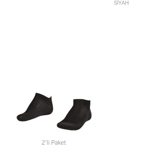 Lescon La-2182 Siyah Erkek Patik Çorap 36-40 2'Li
