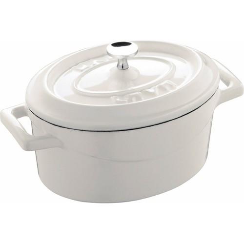 Lava Trendy Oval Mini Döküm Demir Tencere 12x9 cm Beyaz