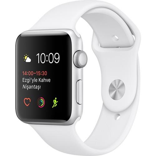 Apple Watch Seri 2 42mm Gümüş Rengi Alüminyum Kasa ve Beyaz Spor Kordon - MNPJ2TU/A