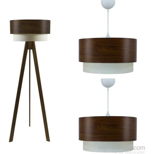 Crea Lighting Doubleshade Ceviz Salon Set/Wood/Betula