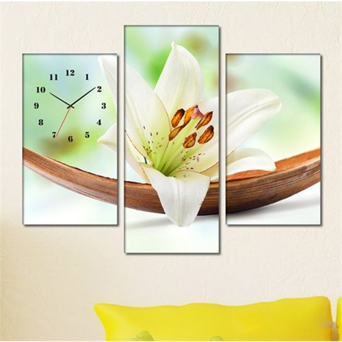 Tabloshop -Acacia Bowl Lily 3 Parçalı Simetrik Canvas Tablo Saat - 80X60cm