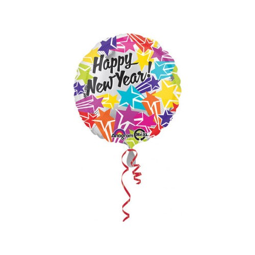 KullanAtMarket Happy New Year Yıldızlı Folyo Balon 43cm