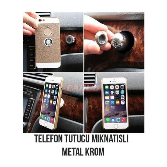Carub Telefon Tutucu Mıknatıslı Metal Krom