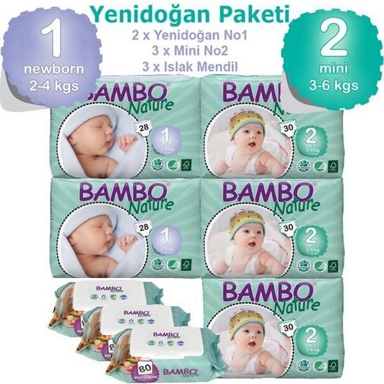 Bambo Nature Bebek Bezi Yenidoğan Paketi ( 1 Beden Bebek Bezi 56 Adet + 2 Beden Bebek Bezi 90 Adet + Islak Havlu 240 Adet)