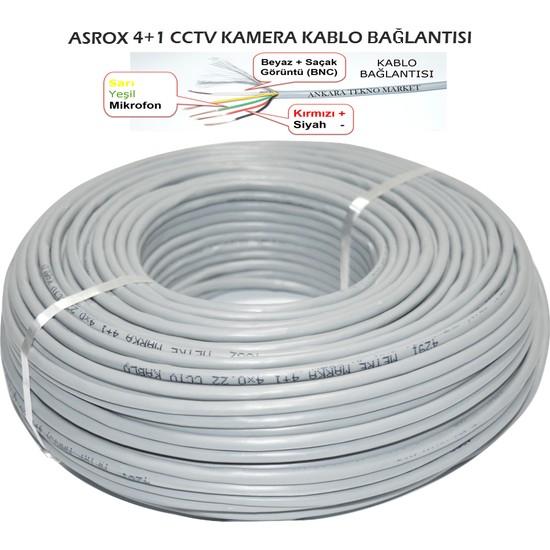 Asrox 4+1 CCTV Kamera Kablosu 100 Metre