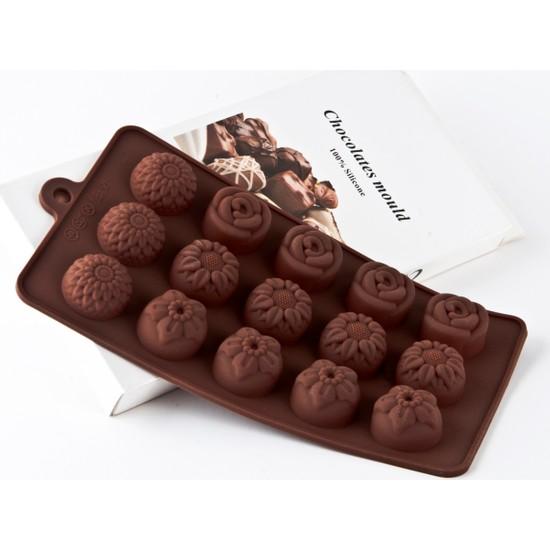 Elitparti Silikon Çikolata Kalıbı Karışık Çiçek Figürlü