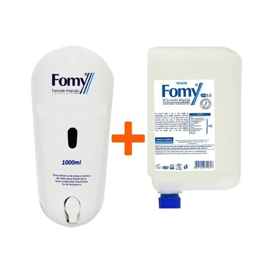 Fomy 1000 ml Standart Köpük Sabun Kartuş 6 lı Eko Paket + Fomy Dispenser