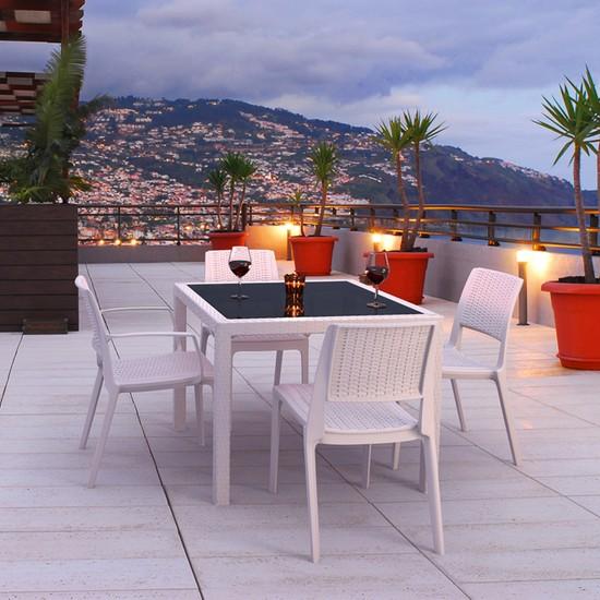 Siesta Rattan Balicap Kare Camlı Masa Takımı - Kahve - Balkon Bahçe Mobilyası