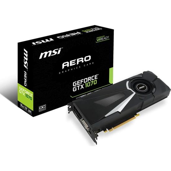 MSI NVIDIA GeForce GTX 1070 AERO 8G OC 8GB 256 bit GDDR5 DX(12) PCI-E 3.0 Ekran Kartı (GTX 1070 AERO 8G OC)