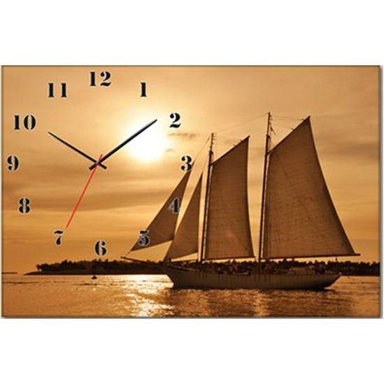 Tabloshop - Deniz Gemi Canvas Tablo Saat - 45X30cm