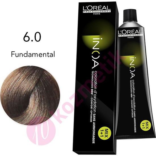 L'Oréal Professionnel İnoa Amonyaksız Saç Boyası No: 6.0 Fundamental 60Ml.