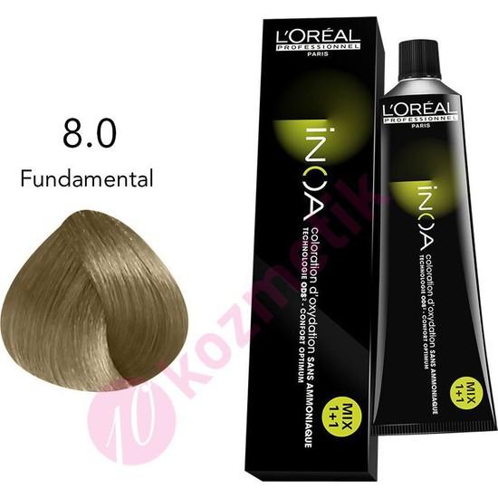 L'Oréal Professionnel İnoa Amonyaksız Saç Boyası No: 8.0 Fundamental 60Ml.