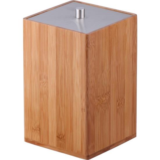 Lorin Bambu Çöp Kovası Banyo Çöp Kutusu