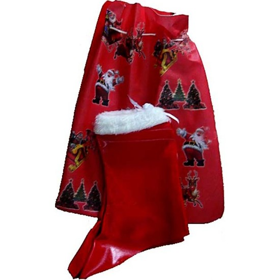 Kostümce Noel Anne Hediye Dağıtım Torbası Ve Noel Anne Çizmesi Seti