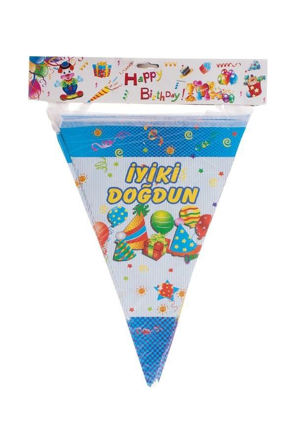 Elnura of Happy Birthday Banner Triangle - Blue