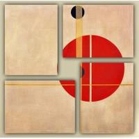 Tictac 4 Parça Kanvas Tablo - Soyut Kırmızı