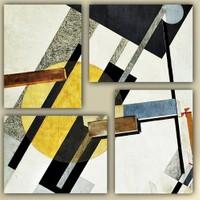 Tictac 4 Parça Kanvas Tablo - Soyut Sarı