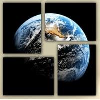 Tictac 4 Parça Kanvas Tablo - Dünya