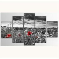 Tictac 5 Parça Kanvas Tablo - Kırmızı Çiçekler - 100X60 Cm